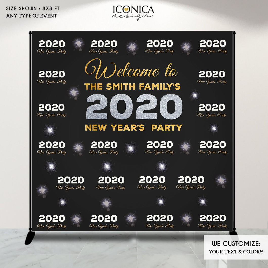 NYE PARTY New Year's Eve party Photo Booth Backdrop, Black and Faux Gold Rose backdrop, any type of event, Printed or Printable File BHO0021