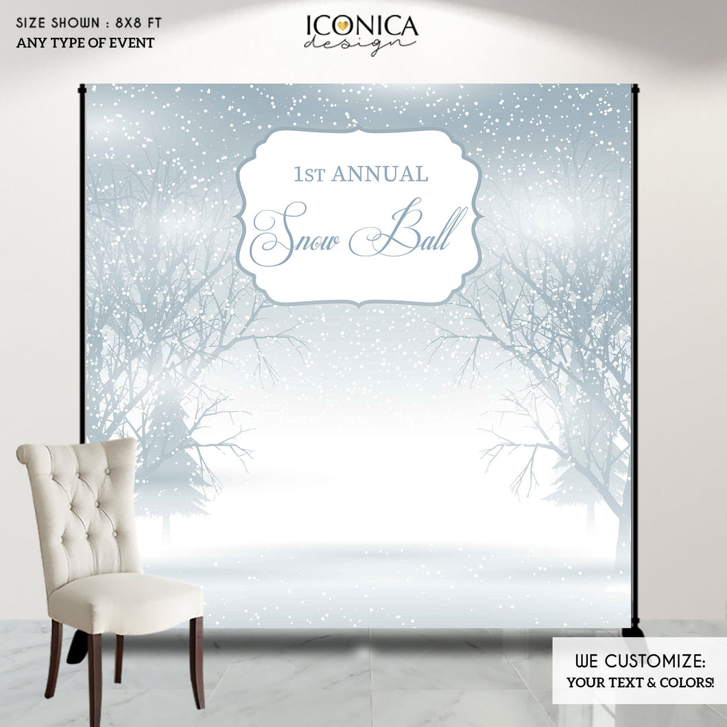 Winter Wonderland Backdrop,Holiday Party,Winter Photo Backdrop, Snow Ball Backdrop, Printed or Printable File BHO0026