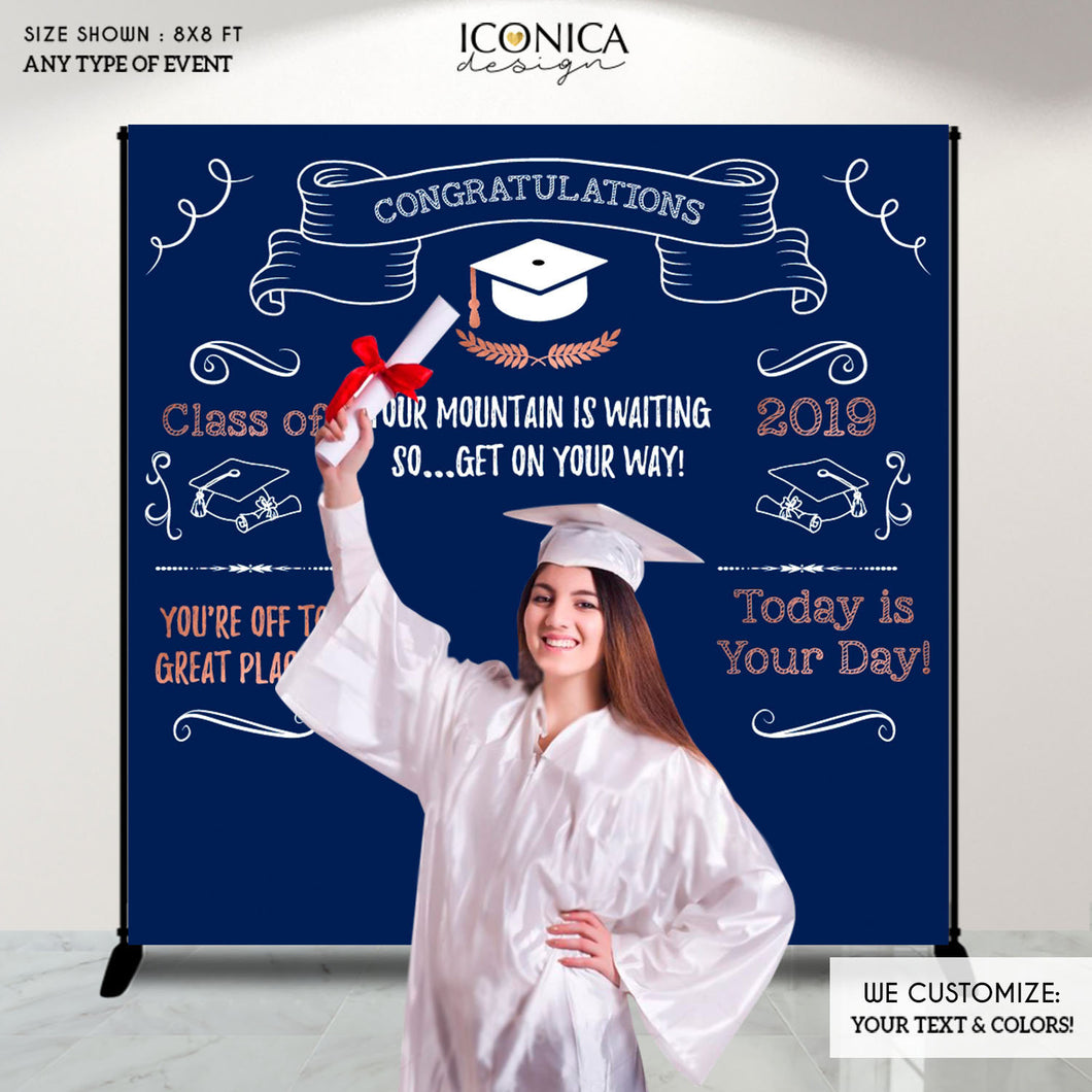 Graduation Party Photo Booth Backdrop, Virtual Graduation, Personalized Banner, Congrats Grad Decor Banner Printed Or Printable File BGR0024