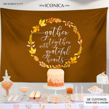 Load image into Gallery viewer, Thanksgiving Backdrop,Fall Party,Personalized Thanksgiving Dinner Decor,Thanksgiving Feast Banner,Thanksgiving Decor BHO0040