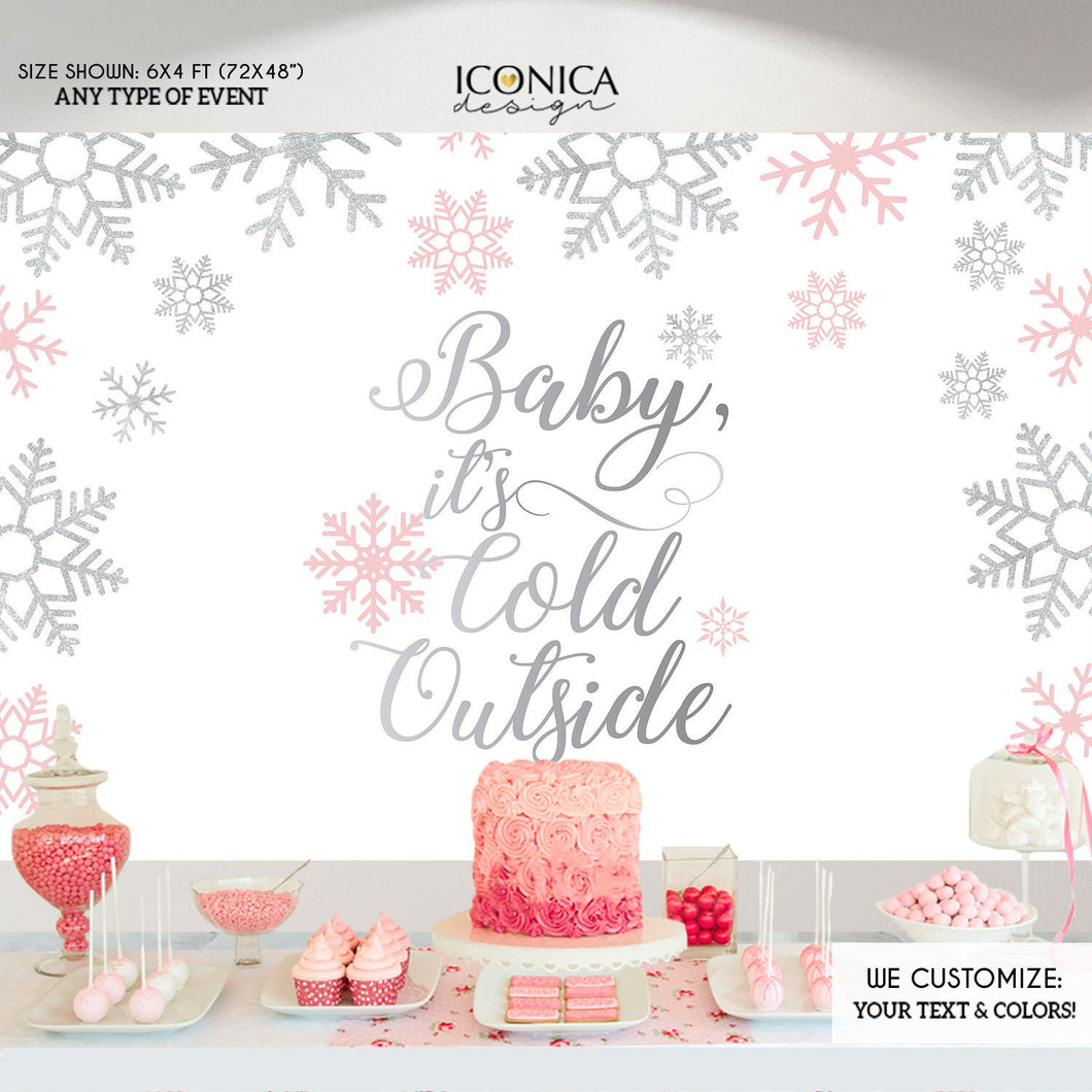 Winter wonderland backdrop,Baby it's cold outside Backdrop, Pink and Silver Christmas Party,Pink winter backdrop,Pink snowflakes BHO0025