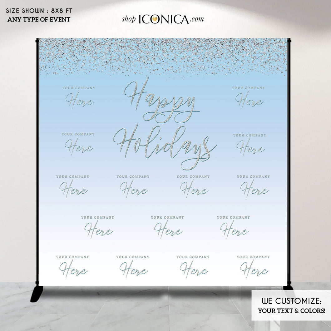 Winter Wonderland Photo Booth Backdrop, Blue Holiday Party Backdrop, Blue Christmas Party backdrop, Printed or Printable File BHO0007