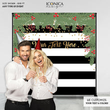 Load image into Gallery viewer, Christmas Photo Booth Backdrop, Christmas Party backdrop, CHEERS Festive Backdrop, Striped Holiday Banner, Printed or Printable File BHO0012