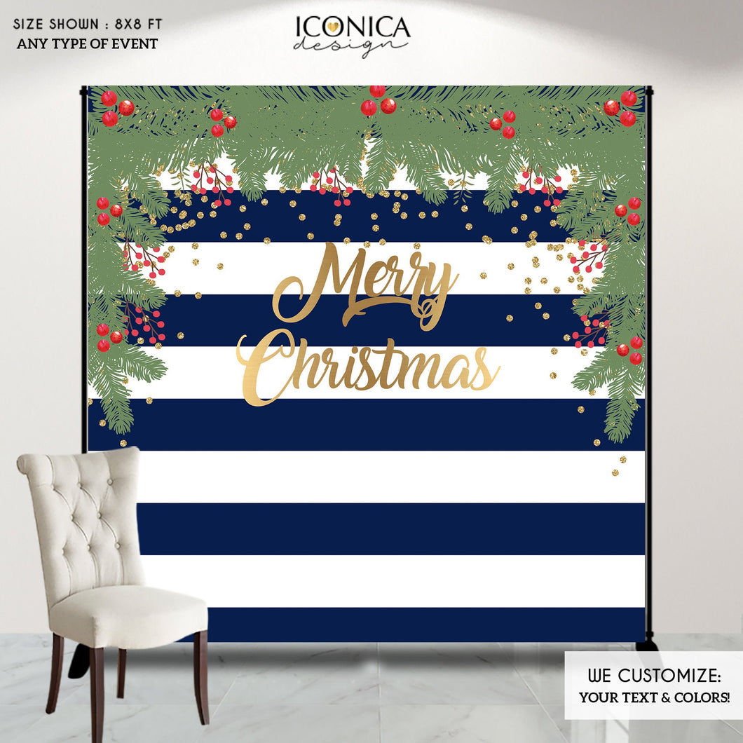 Christmas Photo Booth Backdrop, Christmas Party backdrop, CHEERS Festive Backdrop, Striped Holiday Banner, Printed or Printable File BHO0013