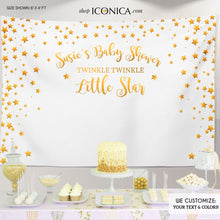 Load image into Gallery viewer, Twinkle Twinkle Baby Shower Party Backdrop, Twinkle Little Star Banner - Gold Stars backdrop- Printed Or Printable File BBS0048