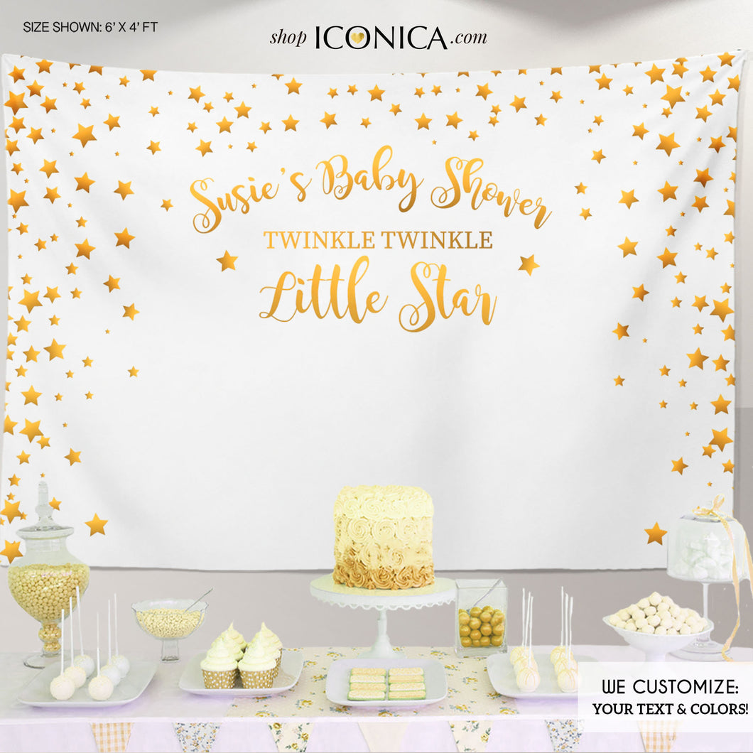 Twinkle Twinkle Baby Shower Party Backdrop, Twinkle Little Star Banner - Gold Stars backdrop- Printed Or Printable File BBS0048