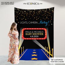 Load image into Gallery viewer, Movie Themed Baby Shower Backdrop,Hollywood Party, Lights, Camera, Baby! Step And Repeat Backdrop,Red Carpet Banner,Photobooth BBS0030