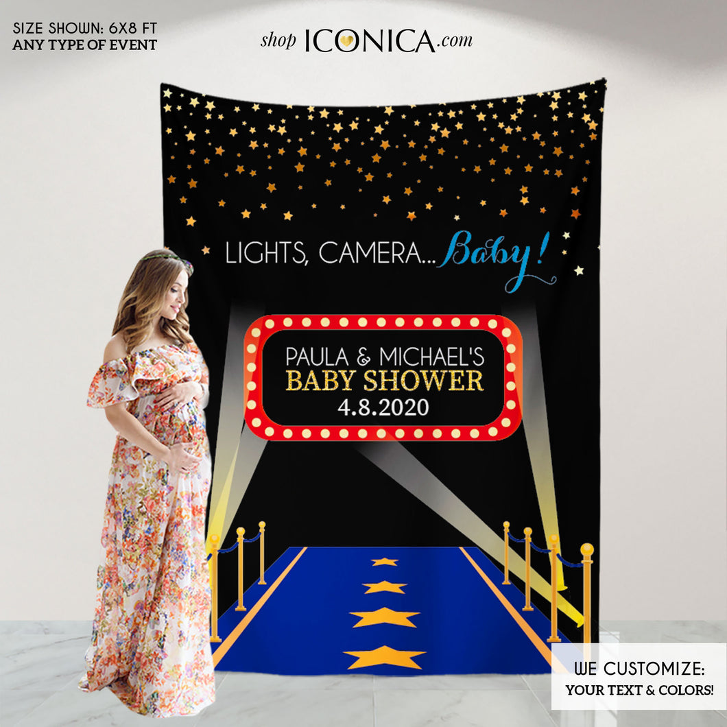Movie Themed Baby Shower Backdrop,Hollywood Party, Lights, Camera, Baby! Step And Repeat Backdrop,Red Carpet Banner,Photobooth BBS0030