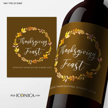 Load image into Gallery viewer, Thanksgiving Labels,Personalized Fall Party Labels,Bottle Labels,Champagne Labels,Thanksgiving Feast beer or wine labels,Adult Party Favors