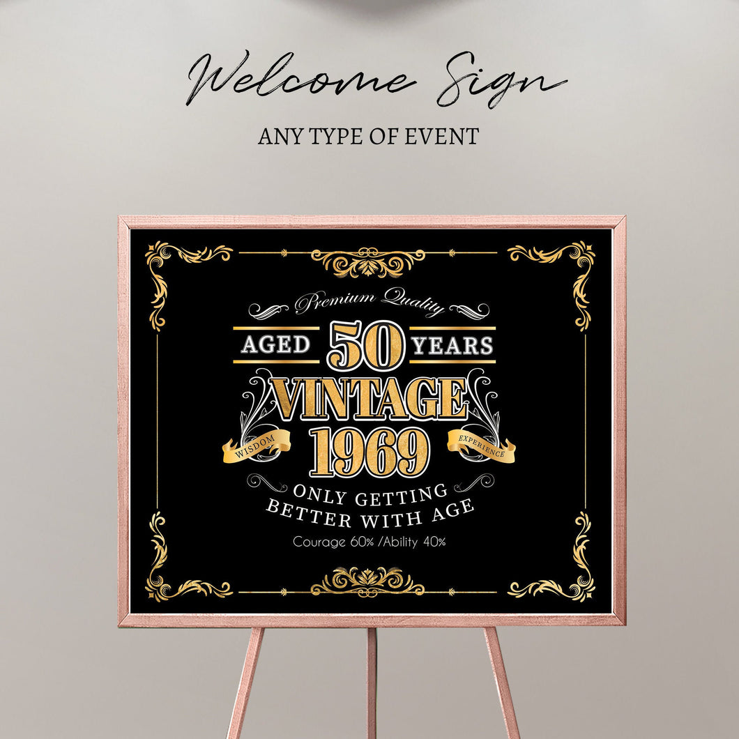 50th Birthday Welcome Sign, Aged to Perfection Custom Gift,Personalized 50th birthday sign,Vintage Birthday Decor,Printed Or Printable File