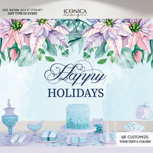 Load image into Gallery viewer, Christmas Backdrop, Pastel Poinsettias Banner , Holiday Party Banner, Photo Backdrop Printed Or Digital File BHO0013 ,holiday decor