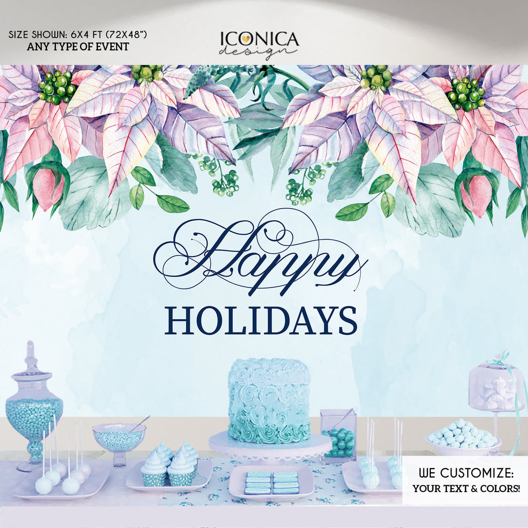 Christmas Backdrop, Pastel Poinsettias Banner , Holiday Party Banner, Photo Backdrop Printed Or Digital File BHO0013 ,holiday decor