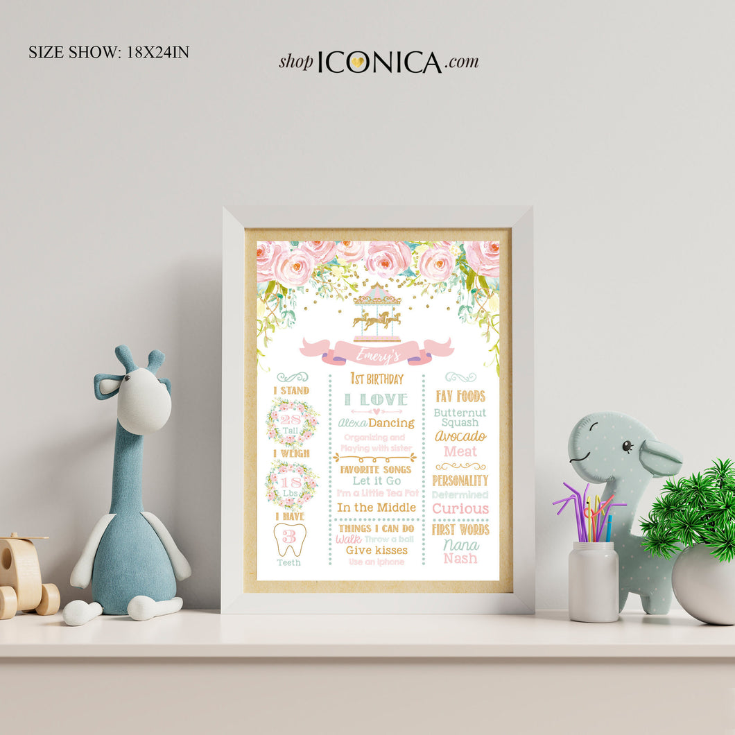 Carousel Nursery Decor,Christmas Gift for Baby Girls,Carousel First Birthday Milestone Poster,Floral Birthday Sign,Milestone Poster CBD0047