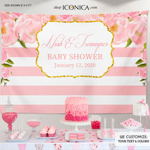 Load image into Gallery viewer, Floral Pink Baby Shower Backdrop, Gold and Pink Peonies Dessert Table Banner, any wording -colors, Garden Party Printed or Printable BBS0043