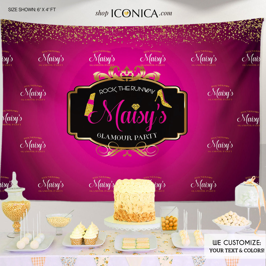Glamour Party Backdrop Runway Fashion Dessert Table Banner - any event - Gold Confetti Hot Pink Banner Printed or Printable File BBD0045