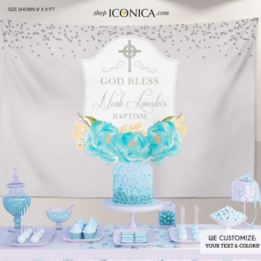 Baptism Party Backdrop, Light Gray and Blue Banner, Blue Peonies, First Communion Banner - Printed Or Printable File
