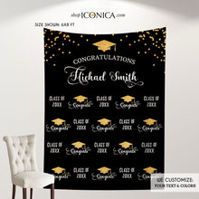 Load image into Gallery viewer, Graduation Party Photo Booth Backdrop, Virtual Graduation Step and Repeat FABRIC, Class of 2020 Decorations,Non-Glare Eco Friendly BGR0025