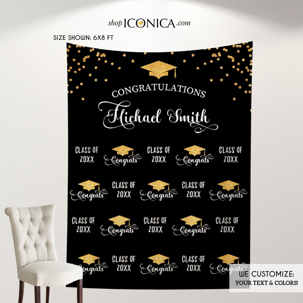 Graduation Party Photo Booth Backdrop, Virtual Graduation Step and Repeat FABRIC, Class of 2020 Decorations,Non-Glare Eco Friendly BGR0025