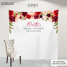Load image into Gallery viewer, Boho Burgundy Backdrop,Boho Baby Shower Backdrop,Floral Burgundy and Blush Backdrop, Personalized step and repeat,Engagement Party BBR0032