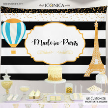 Load image into Gallery viewer, Virtual Baby Shower Frecnh Baby Shower Party Backdrop, Made in Paris, Hot Air Balloon Baby Shower Banner, Any Wording, French Party, BBS0037
