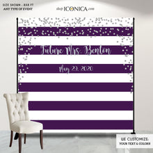 Load image into Gallery viewer, Bridal Shower Party Backdrop, Purple and Silver Party Backdrop, Dessert Table Banner, Striped Banner - Printed Or Printable File BBR0018