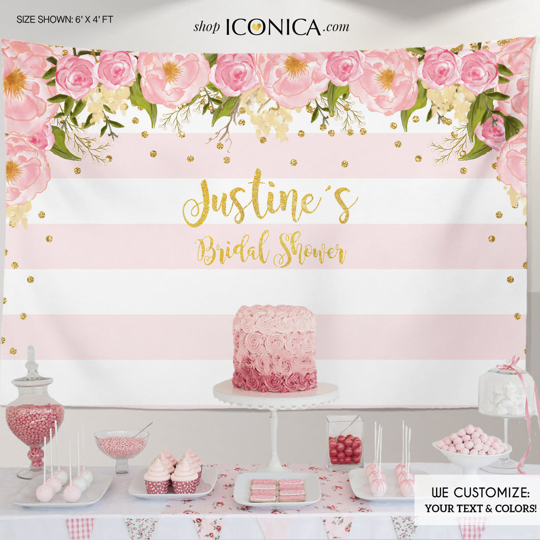 Floral Bridal Shower Backdrop, Gold And Pink, Dessert Table Banner, Pastel Colors, Flowers Garden, Printed Or Printable File BBR0001