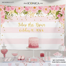 Load image into Gallery viewer, Floral Bridal Shower Backdrop, Gold And Pink, Dessert Table Banner, Pastel Colors, Flowers Garden, Printed Or Printable File BBR0001
