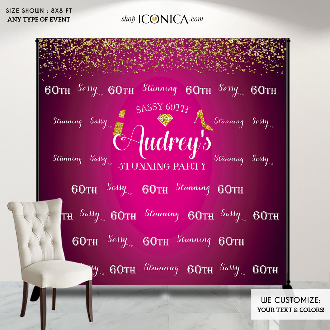 Sassy 60th Party Backdrop - 60 and Stunning Dessert Table Banner - Milestone Birthday Backdrop- Gold Confetti Hot Pink Banner Printed or Printable File BBD0059