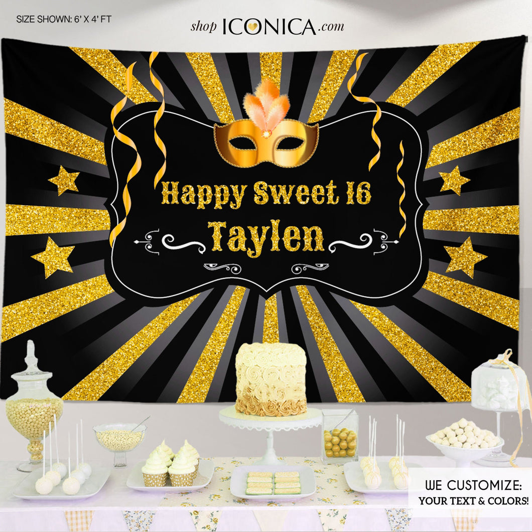 Masquerade Backdrop, Sweet Sixteen, or any age, Masquerade Ball Backdrop, Mardi Gras Backdrop, Fat Tuesday Backdrop, gold masquerade backdrop