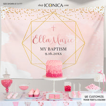Load image into Gallery viewer, Baptism Backdrop Geometric,Girls and Boys Baptism Backdrop, Modern First Communion Backdrop Personalized, Watercolor Christening Backdrop