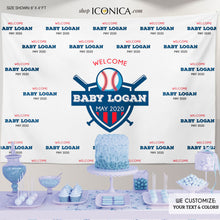Load image into Gallery viewer, Baseball Baby Shower Photo Booth Backdrop, Cubs Theme, Custom Step and Repeat Backdrop, Welcome Baby, Sports Backdrop Virtual Baby Shower