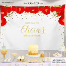 Load image into Gallery viewer, Floral Bridal Shower Backdrop, Gold And Red Dessert Table Banner Any Event Watercolor Flowers Garden Party Printed Or Printable File Bbr0007