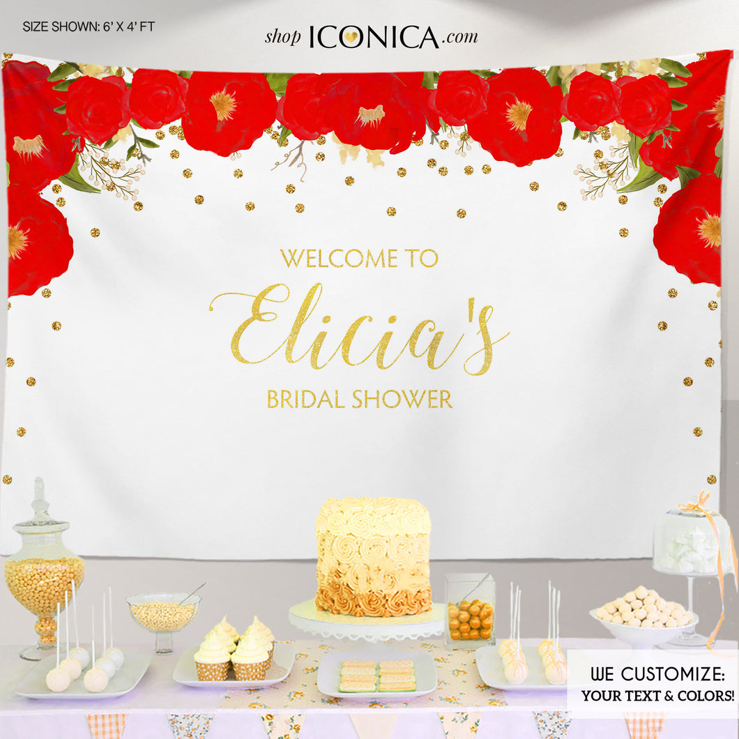 Floral Bridal Shower Backdrop, Gold And Red Dessert Table Banner Any Event Watercolor Flowers Garden Party Printed Or Printable File Bbr0007