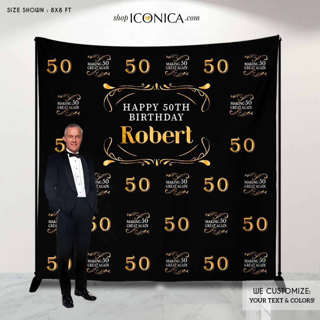 50th Birthday Backdrop, Making 50 Great Again Decor,Aged to Perfection Custom Step And Repeat Backdrops, Personalized birthday BBD0126