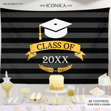 Load image into Gallery viewer, Graduation Party Backdrop, Virtual Graduation, Grad Party Class 2020, Graduation Backdrop, Graduate Decor, Prom Party, Graduation Banner