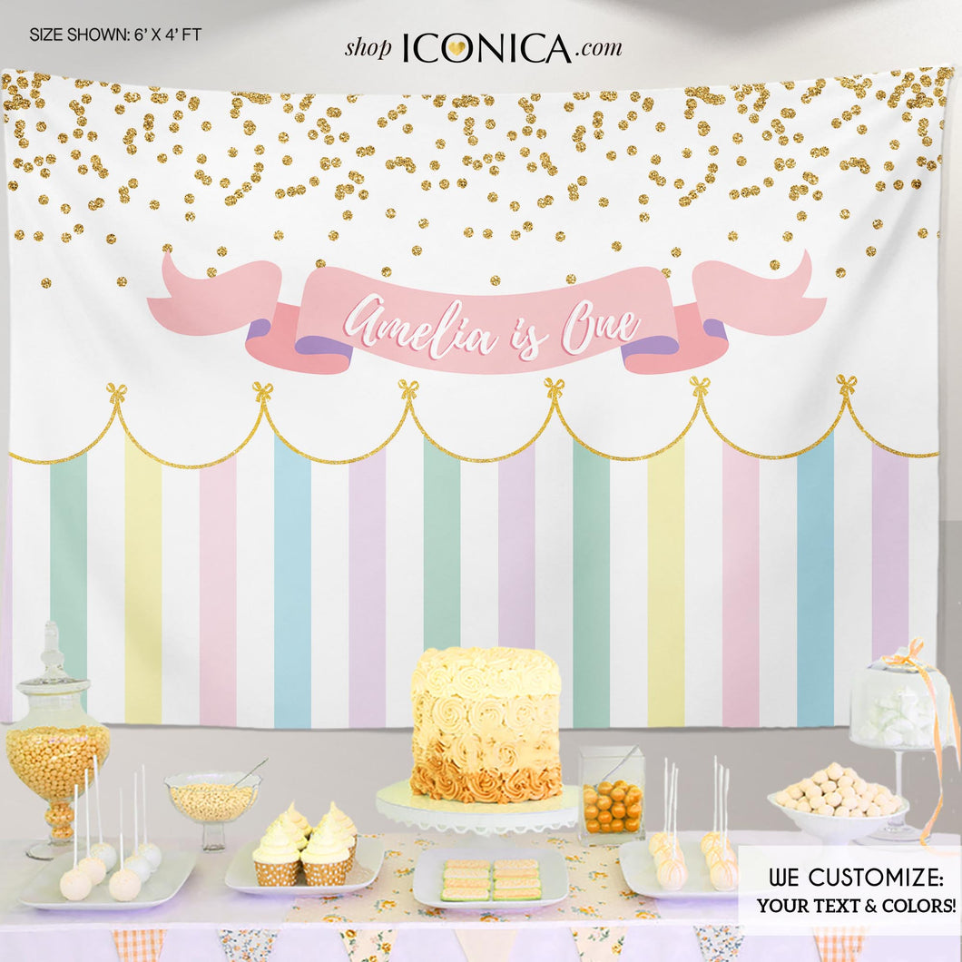 Girls First Birthday Party Backdrop, Any Age, Any Wording, Girls Baby Shower Banner Circus Banner Pastel Colors Printed Or Printable BBD0073