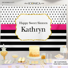 Load image into Gallery viewer, Sweet Sixteen Birthday Backdrop, Sweet Sixteen Backdrop Modern Black White Stripes Gold Glitter Printed Or Printable File