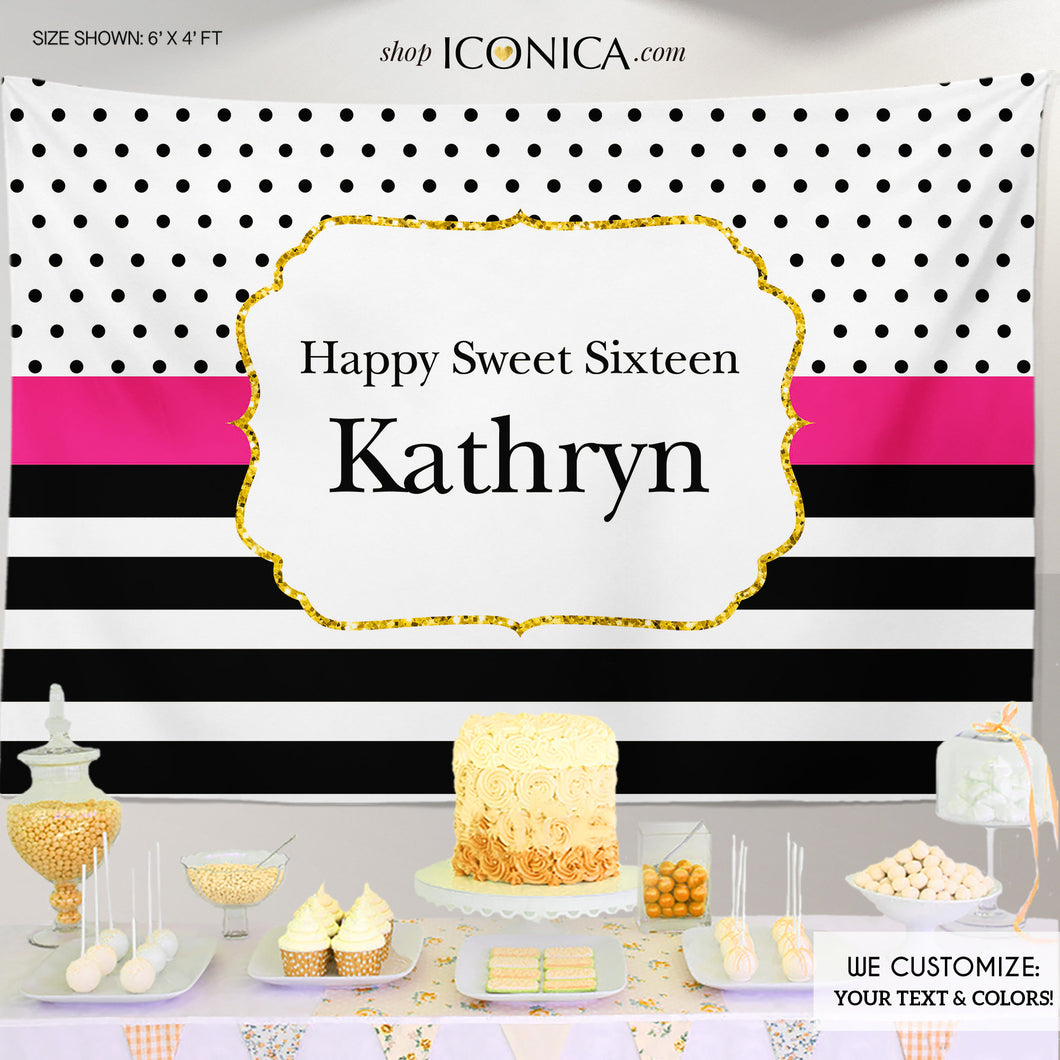 Sweet Sixteen Birthday Backdrop, Sweet Sixteen Backdrop Modern Black White Stripes Gold Glitter Printed Or Printable File