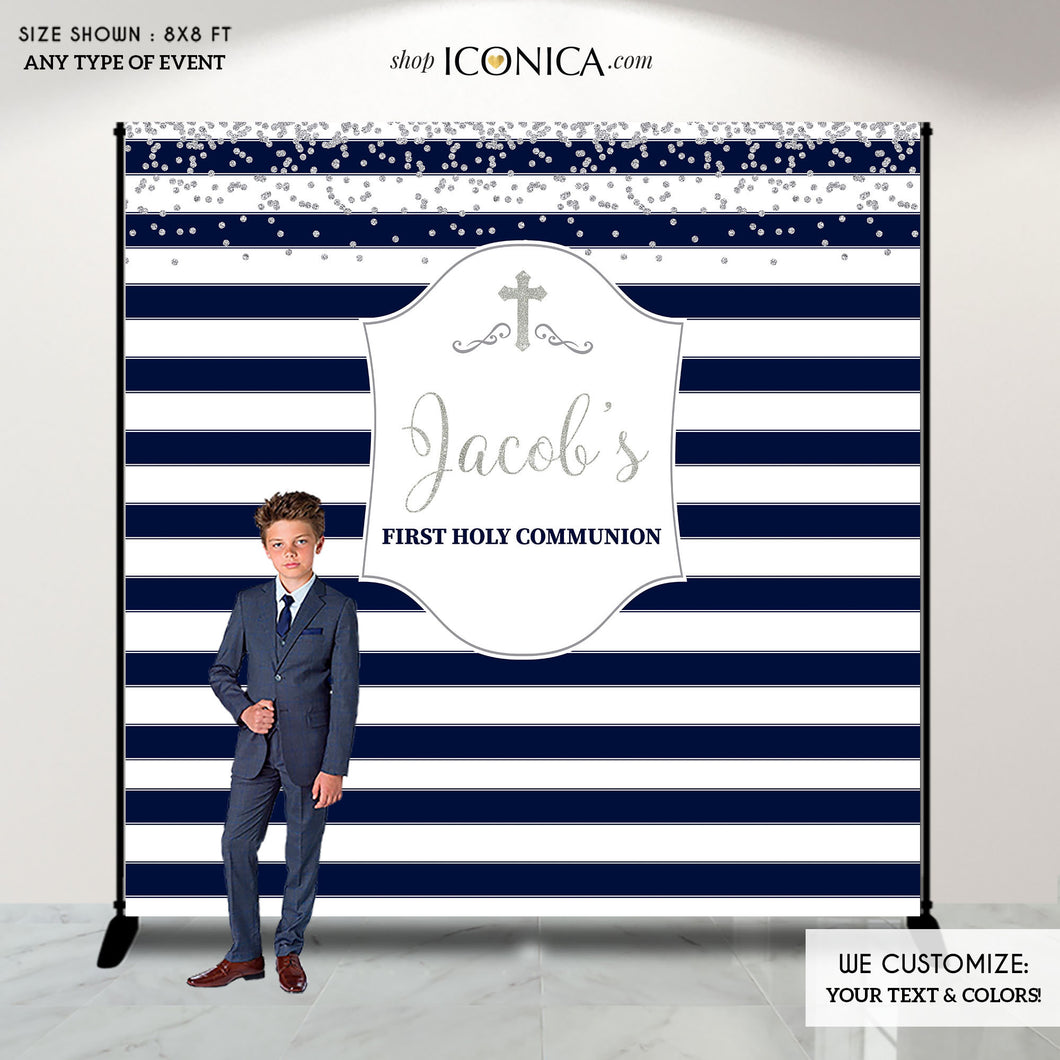 First Communion Photo Booth Backdrop,Blue and Silver Striped Backdrop,Step And Repeat,Printed and Printable File,Free Shipping BFC0015