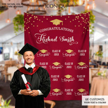 Load image into Gallery viewer, Graduation Party Photo Booth Backdrop, Virtual Graduation, Step and Repeat, Burgundy Class of 2020 Decor, vinyl BGR0025