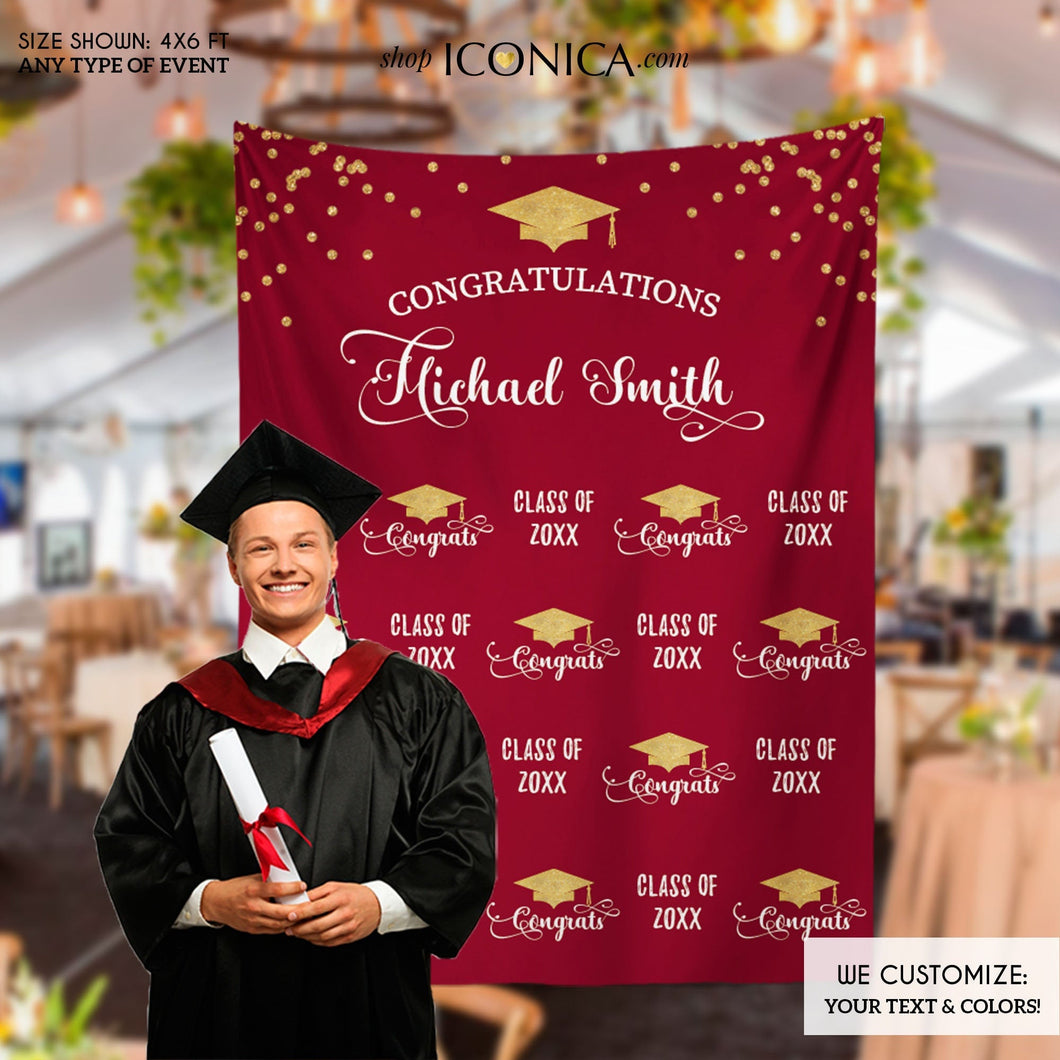 Graduation Party Photo Booth Backdrop, Virtual Graduation, Step and Repeat, Burgundy Class of 2020 Decor, vinyl BGR0025