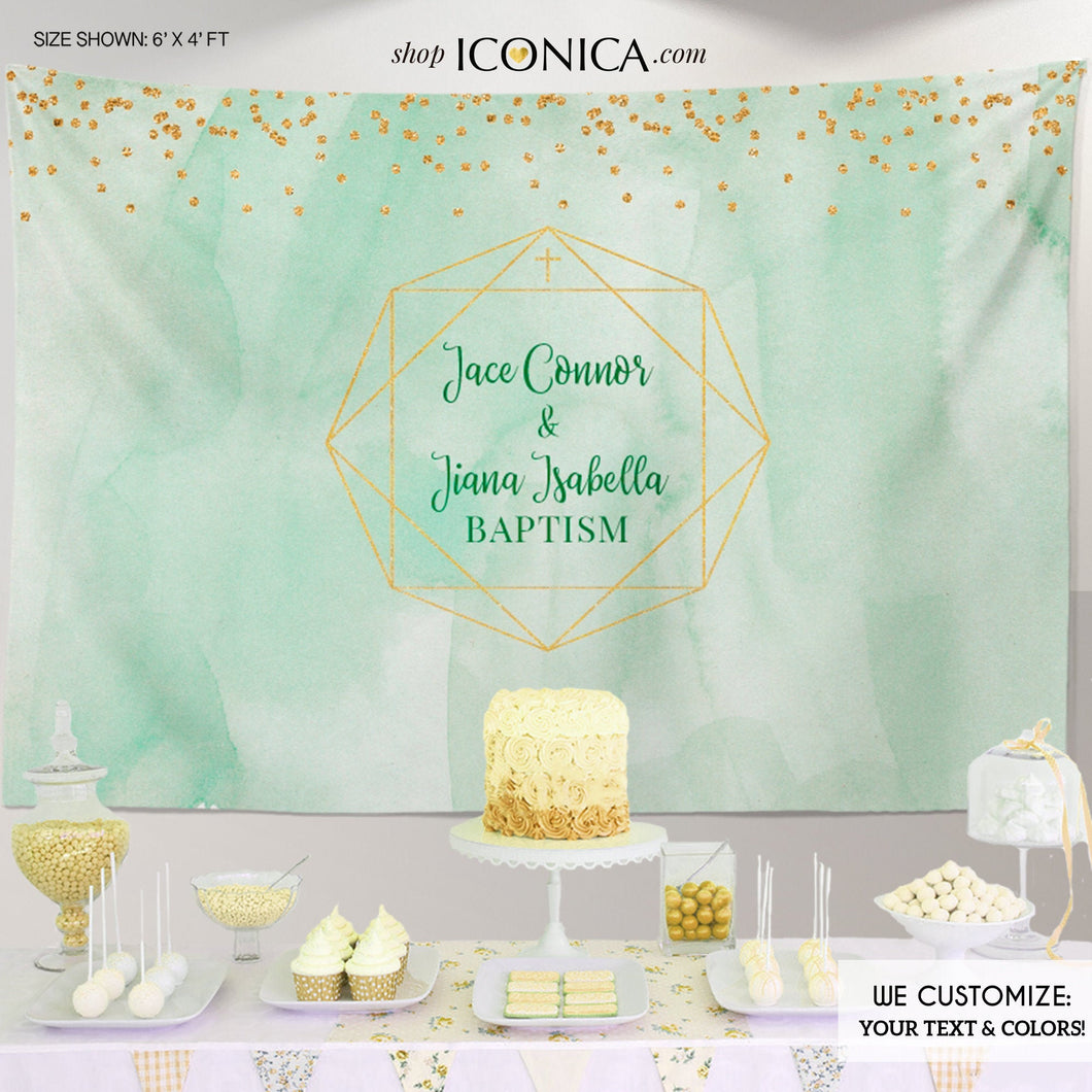 Baptism Backdrop Geometric,Girls and Boys Baptism Backdrop, Modern First Communion Backdrop Personalized, Watercolor Christening Backdrop