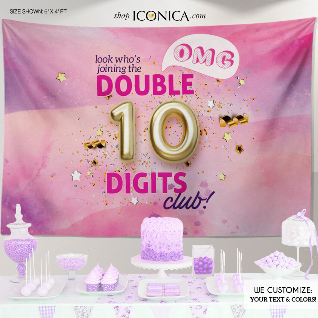 Double Digits Backdrop Tie Dye 10th Birthday Banner Personalized 10 Party Backdrop Double Digits Club Decorations,Any text, Printed backdrop