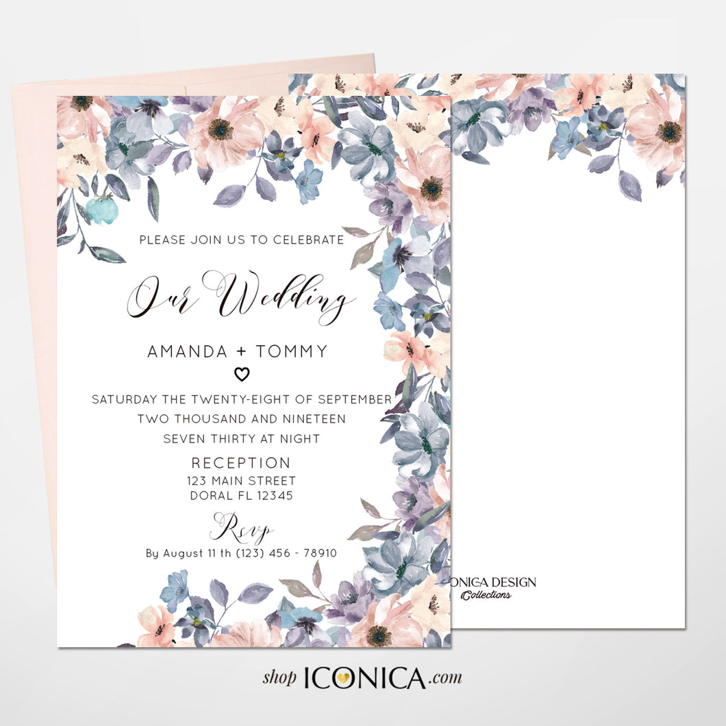 Wedding Invitation Romantic Floral Invitation Blush and Dusty Blue Floral Design Printed Cards or Electronic Invite {Chloe Collection}