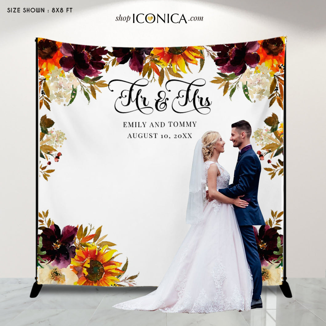 Wedding Backdrop for reception Sunflowers & Burgundy Flowers Watercolor Personalized Engagement banner Photo backdrop {Amelie Collection}