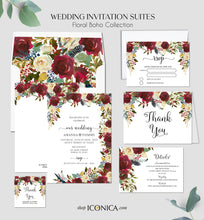 Load image into Gallery viewer, Boho Chic Bridal Shower Invitation Burgundy Red Floral and Navy Feathers Invitation Printed Cards or Electronic Invite {Cherish Collection}