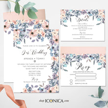 Load image into Gallery viewer, Wedding Invitation Romantic Floral Invitation Blush and Dusty Blue Floral Design Printed Cards or Electronic Invite {Chloe Collection}