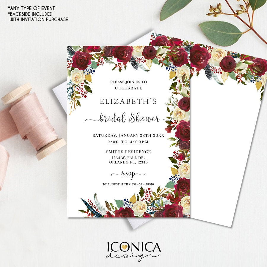 Boho Chic Bridal Shower Invitation Burgundy Red Floral and Navy Feathers Invitation Printed Cards or Electronic Invite {Cherish Collection}