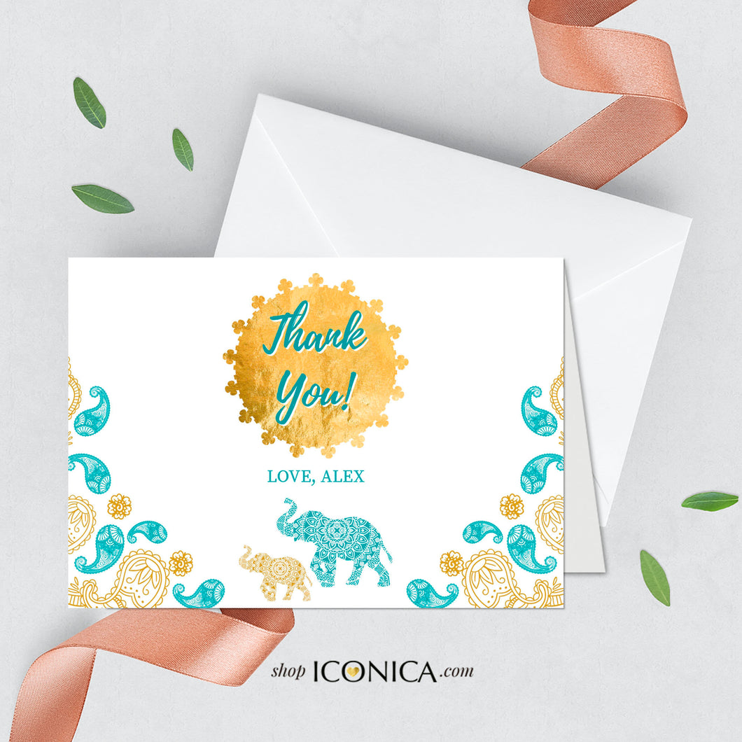 Moroccan Thank You Cards A2,thick matte paper 120#,A2 Folded, White Or Cream Envelopes included,Printed Cards