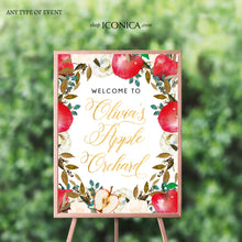 Load image into Gallery viewer, Apple party Welcome Sign Personalized Apple of my eye Sign Floral Printed Apple Orchard First Birthday Sign {Apple of my eye Collection}